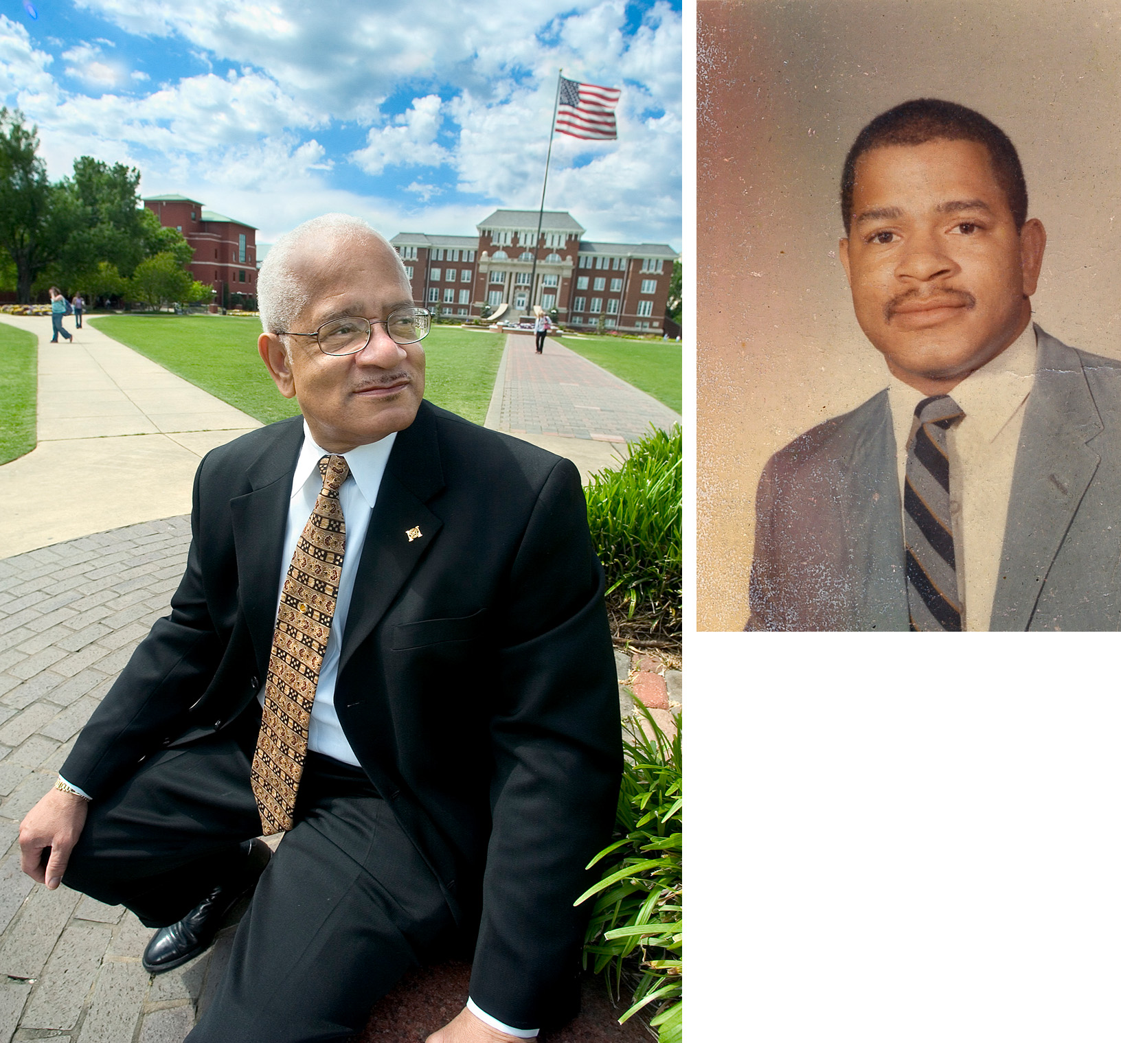 (Left) Dr. Richard Holmes on the MSU Drill Field in 2005.<br /><br /> (Right) Holmes in 1965.<br /><br />
